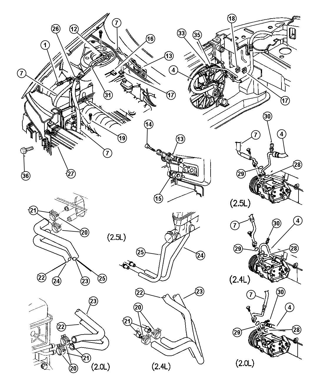 Chrysler Sebring Hose Heater Core Outlet Air