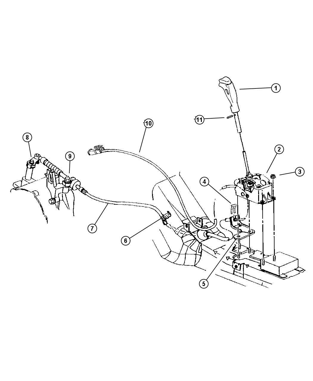 Chrysler Sebring Bracket. Transmission control cable