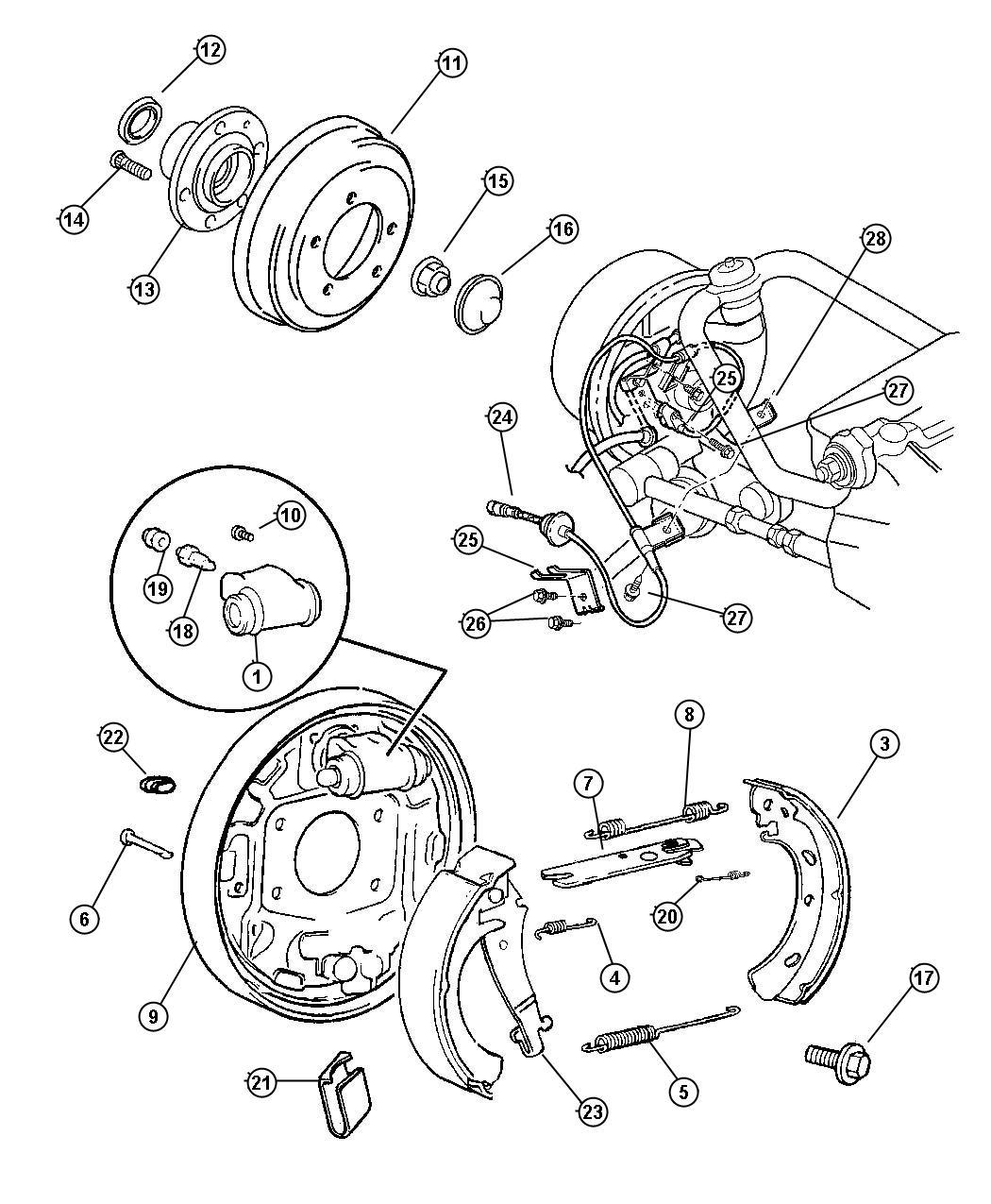 Dodge Stratus Adjuster Brake Shoe Right Includes
