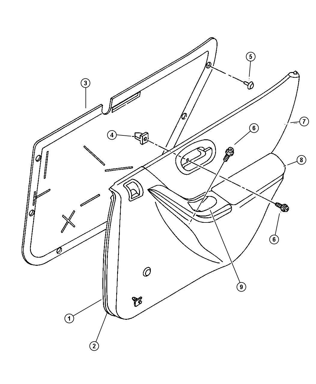 Chrysler Sebring Panel Rear Door Trim Right Agate