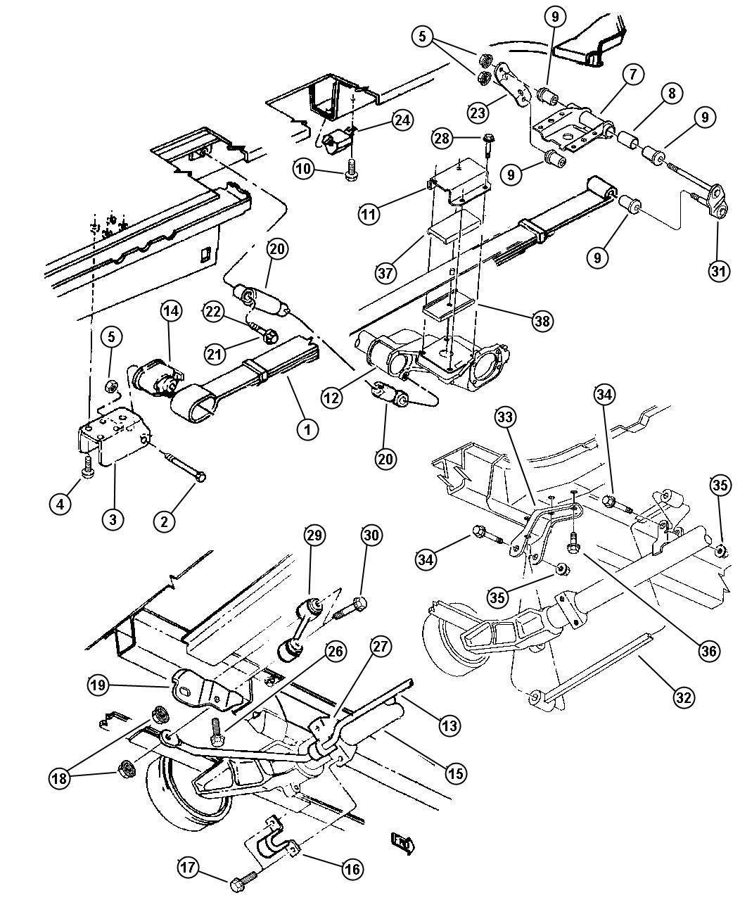 2000 Chrysler Grand Voyager Shock absorber. Suspension