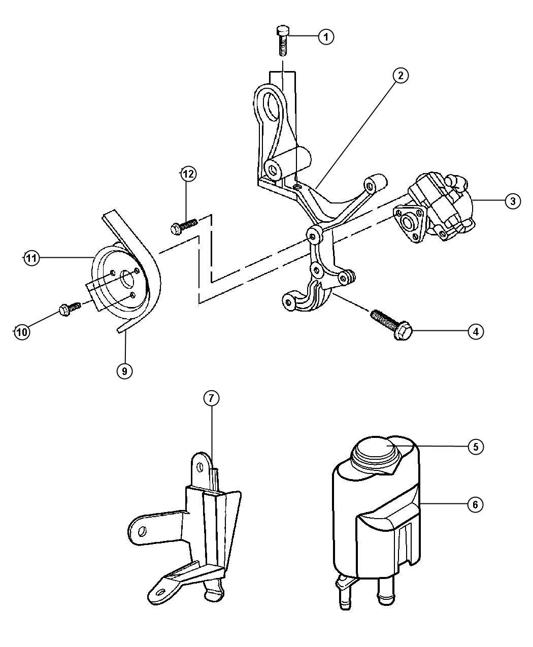 1999 Chrysler Sebring Reservoir. Power steering fluid