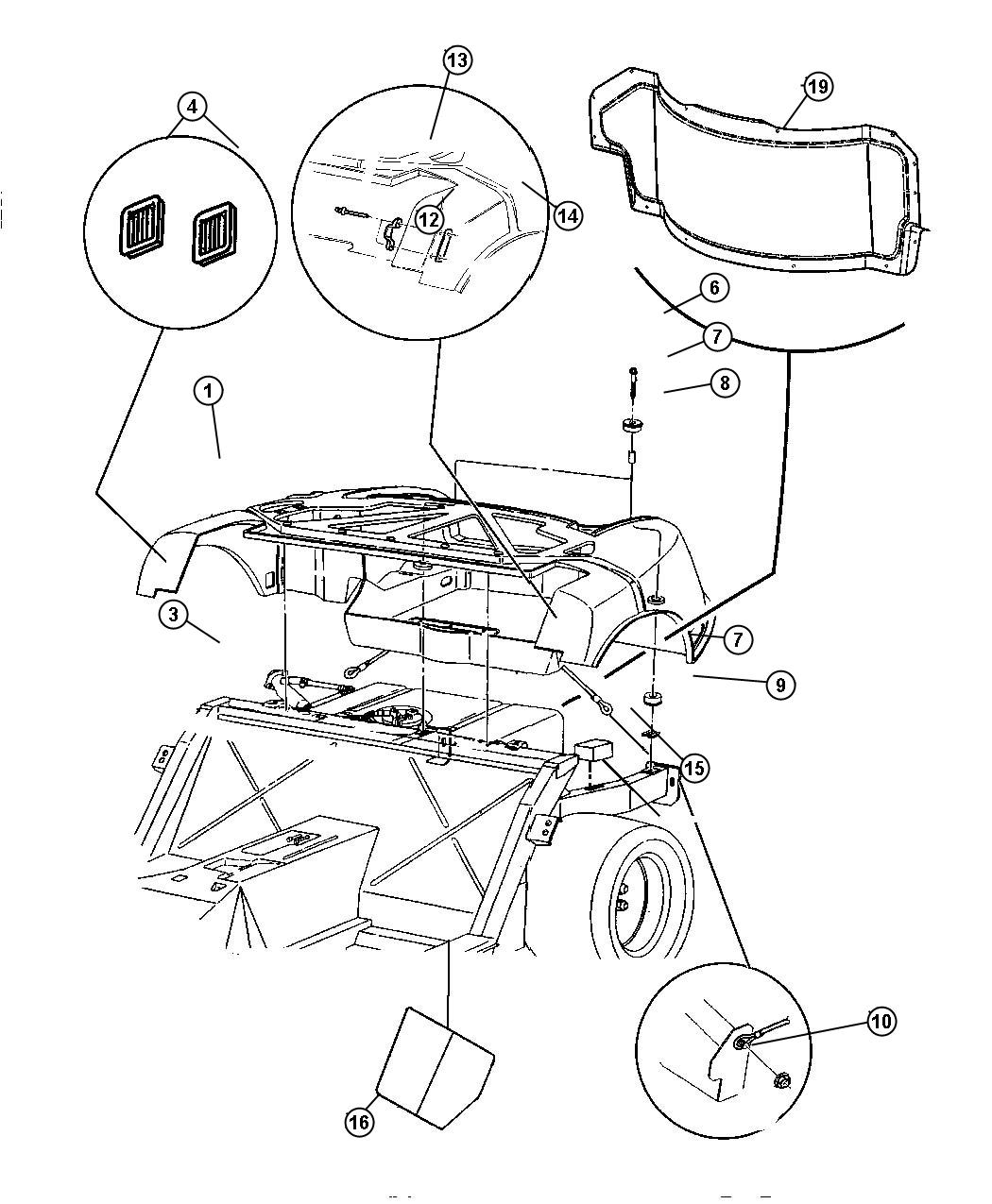 1994 Dodge Viper Panel. Fuel tank close out. Floor, mopar