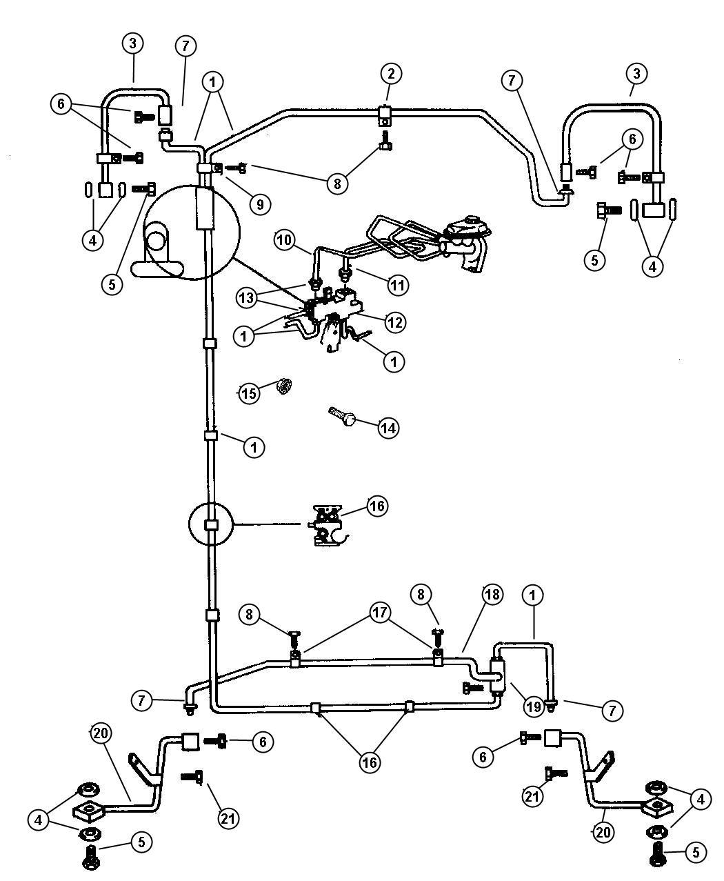Dodge Dakota Tee Brake Tube Front To Rear Brake