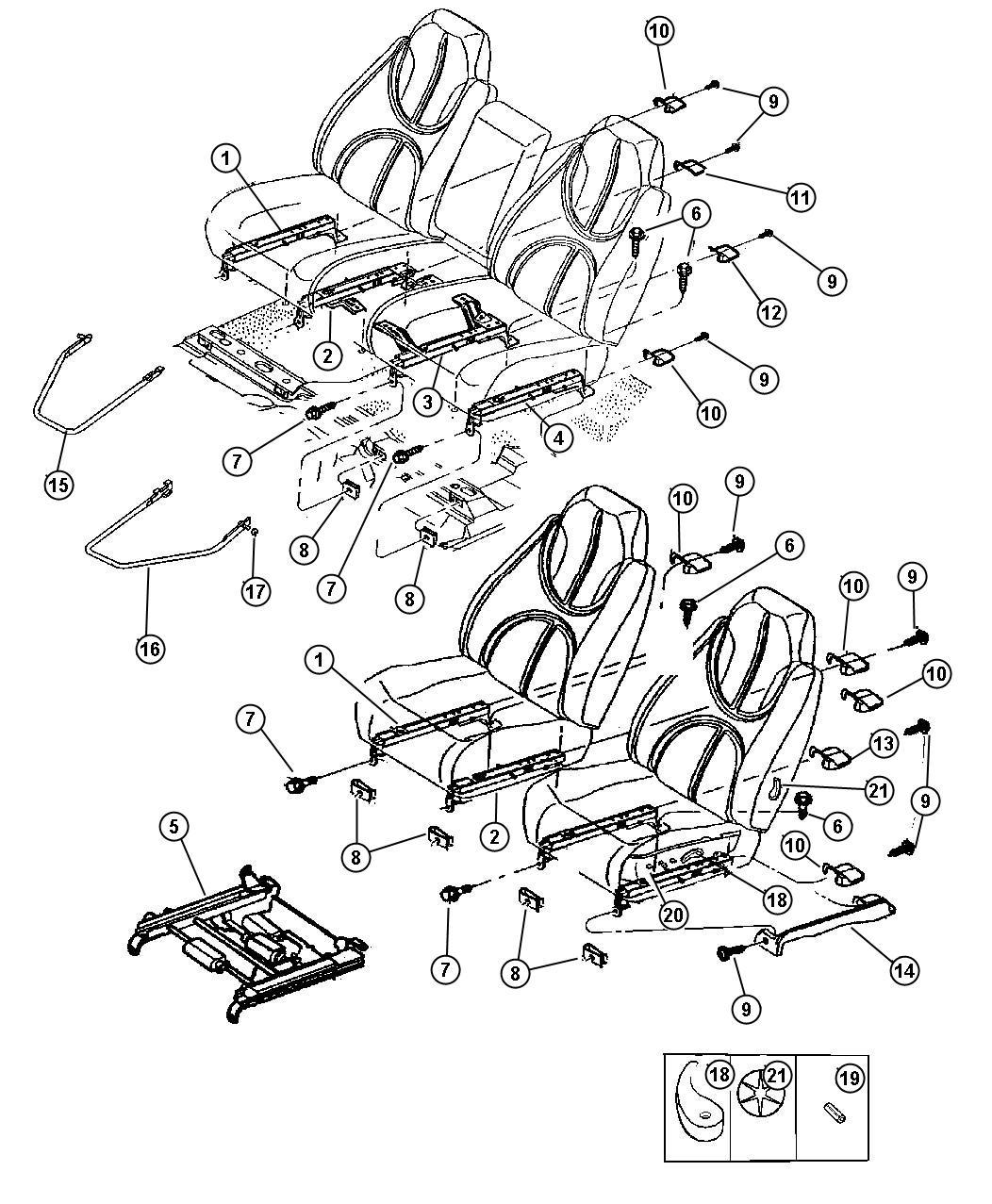 1998 Dodge Durango Adjuster. Driver. Seat. Power. Trim