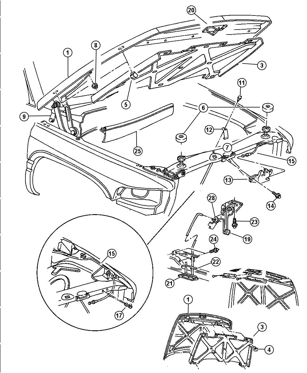 2002 Chrysler Voyager Hood. Hood. After 12-6-93. Release