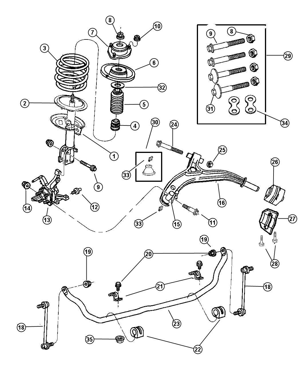 Dodge Ram Cushion Sway Eliminator Sway Bar Frt