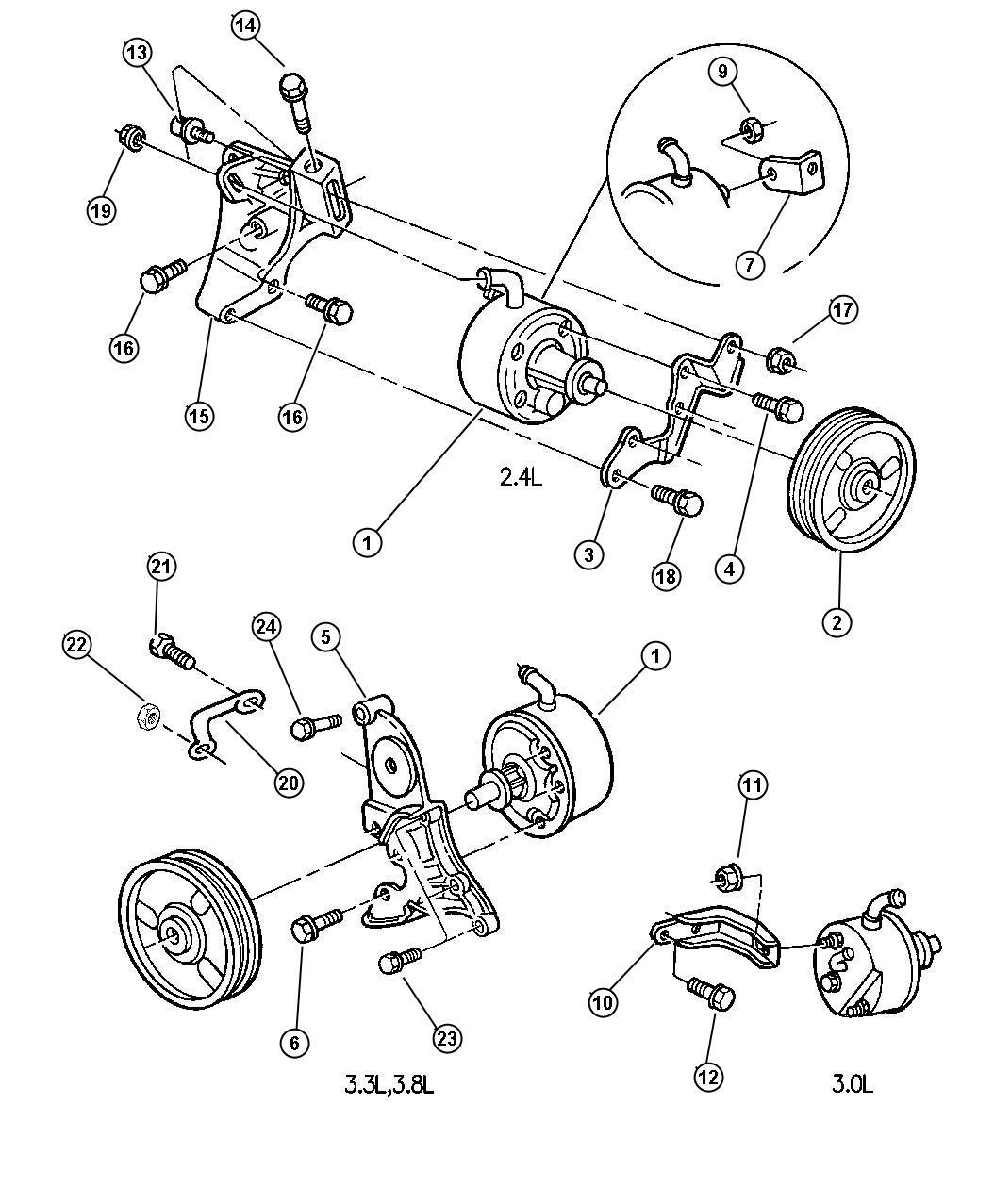 1998 Dodge Caravan Pump. Power steering. W/3.0l, 3.3l, 3