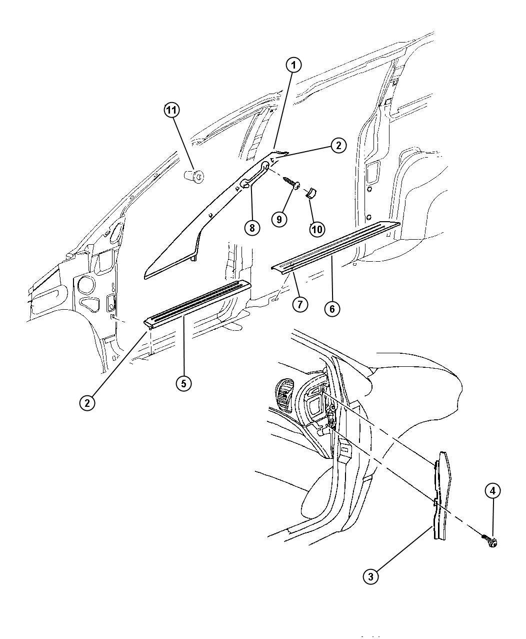 Dodge Caravan Molding. Extension. Left. Lower. Trim: [all