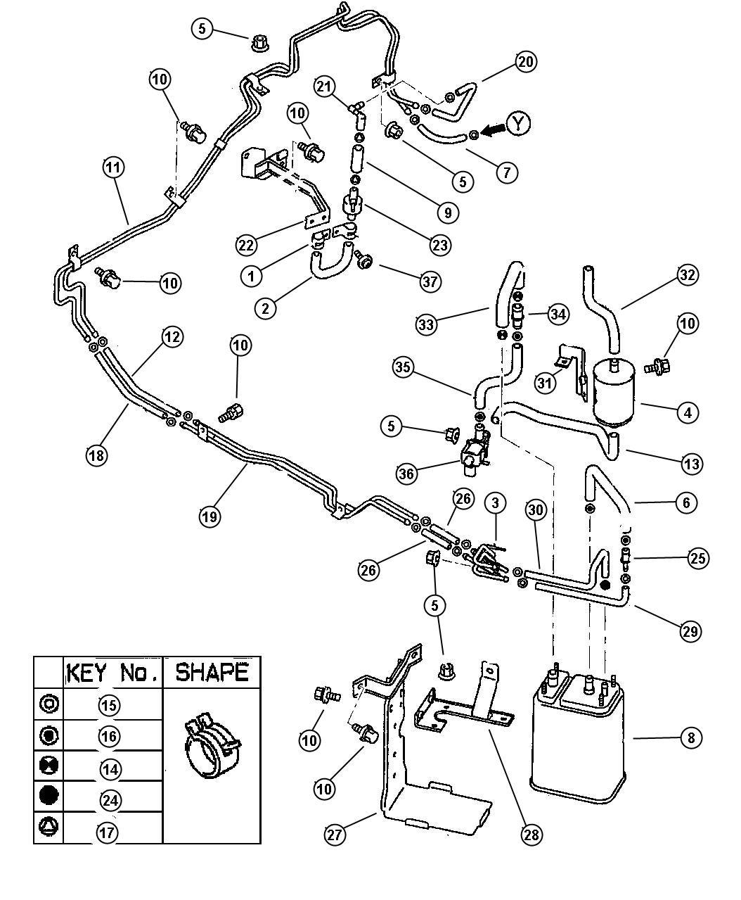 1995 Dodge Avenger Clip. Fuel vapor tube. 10.0 diameter