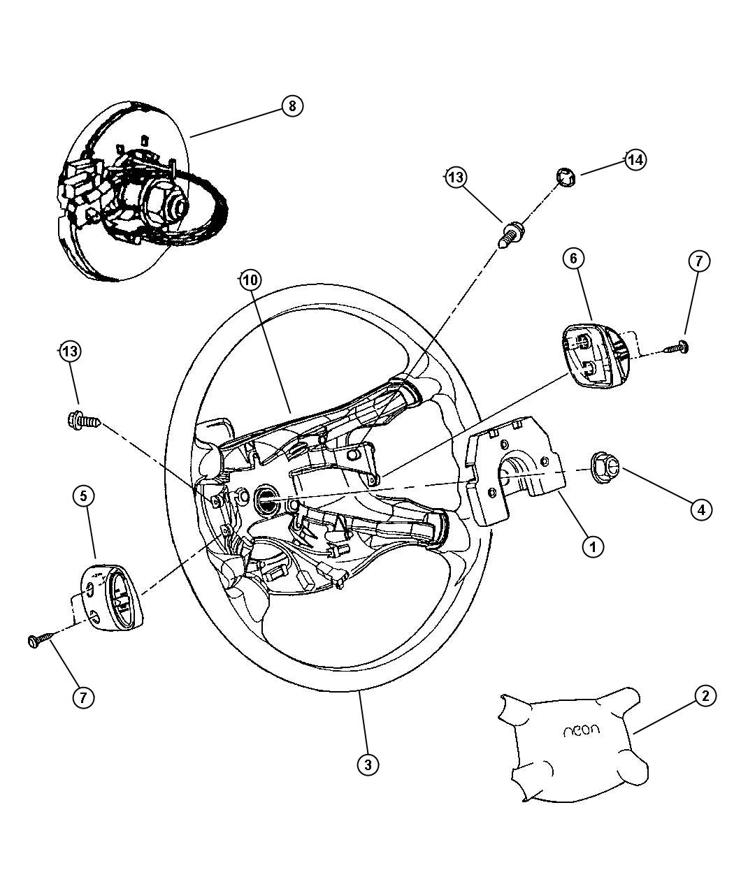 2000 Dodge Neon Clockspring. [cgw], three circuit. Sound