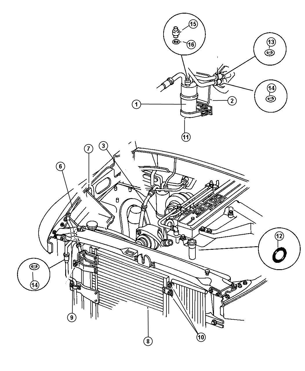 Dodge Ram 1500 Condenser. Air conditioning. Plumbing