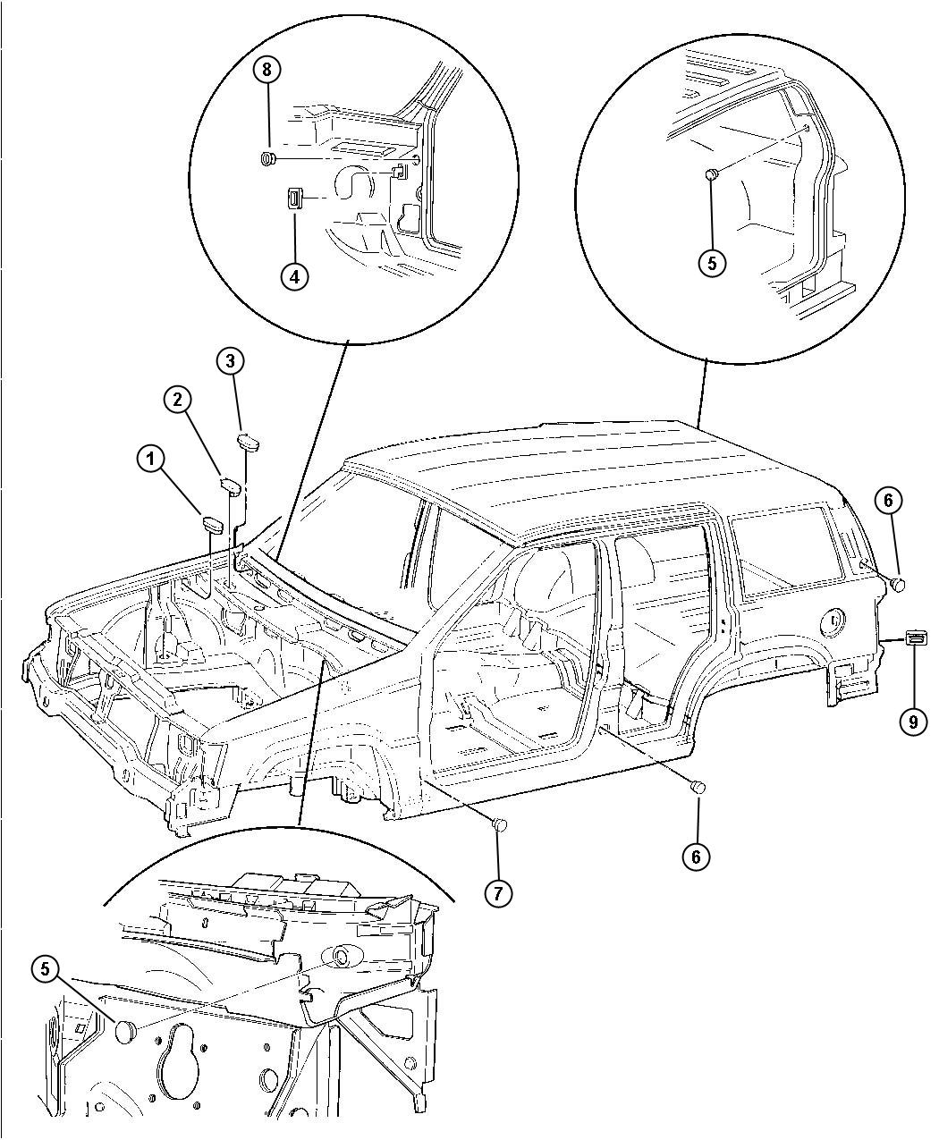 Jeep Grand Cherokee Plug Floor Pan Front Hood Inner