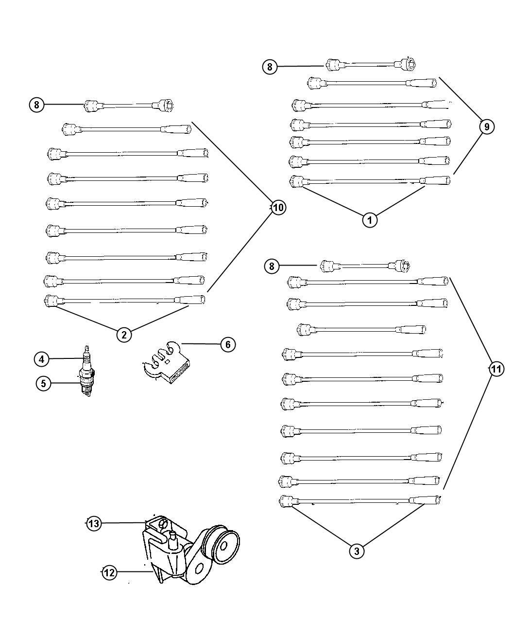 Dodge Ram Cable Ignition 4 4 No 4 Spark