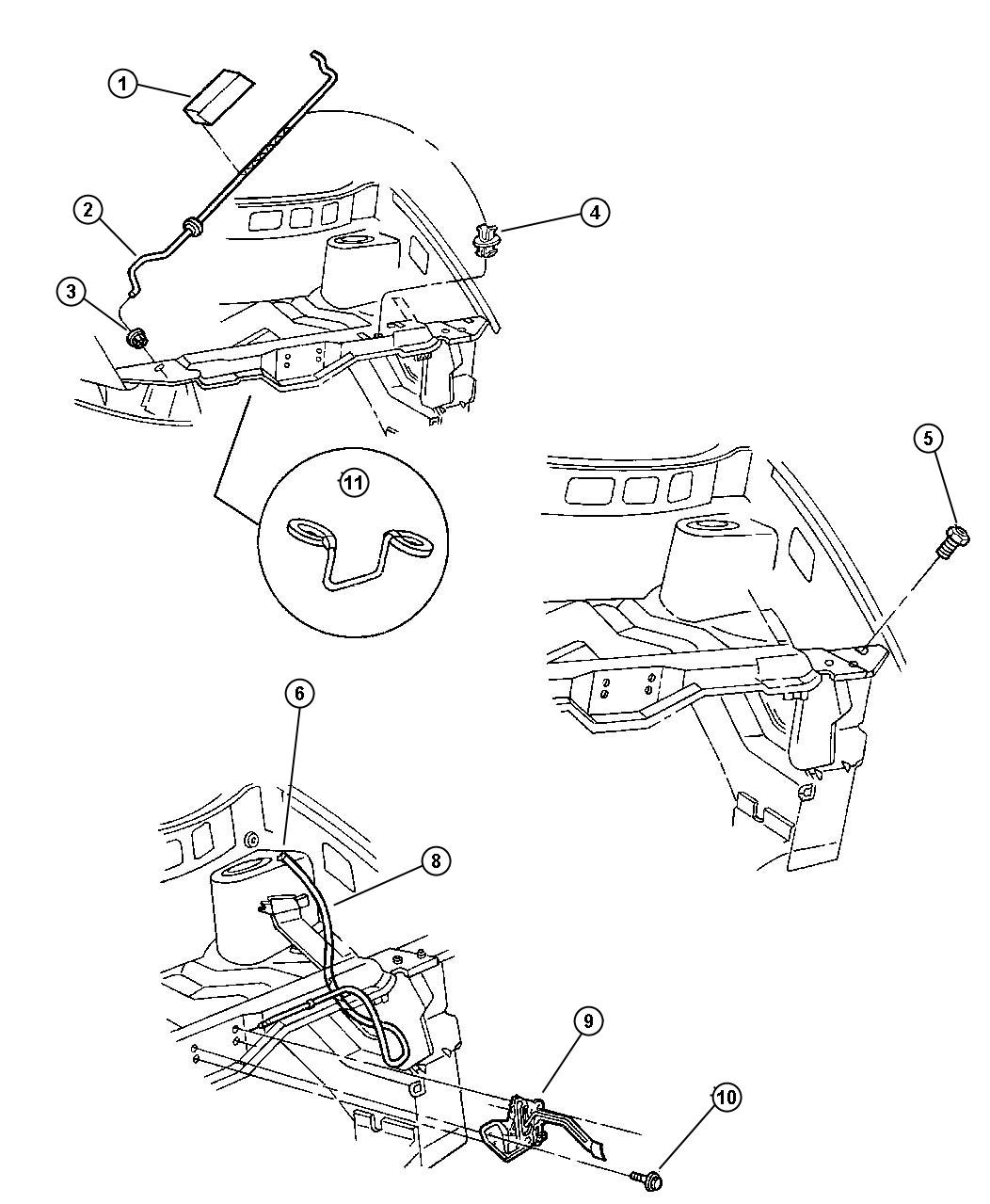 Dodge Caravan Release Hood Latch Inside Assy Body