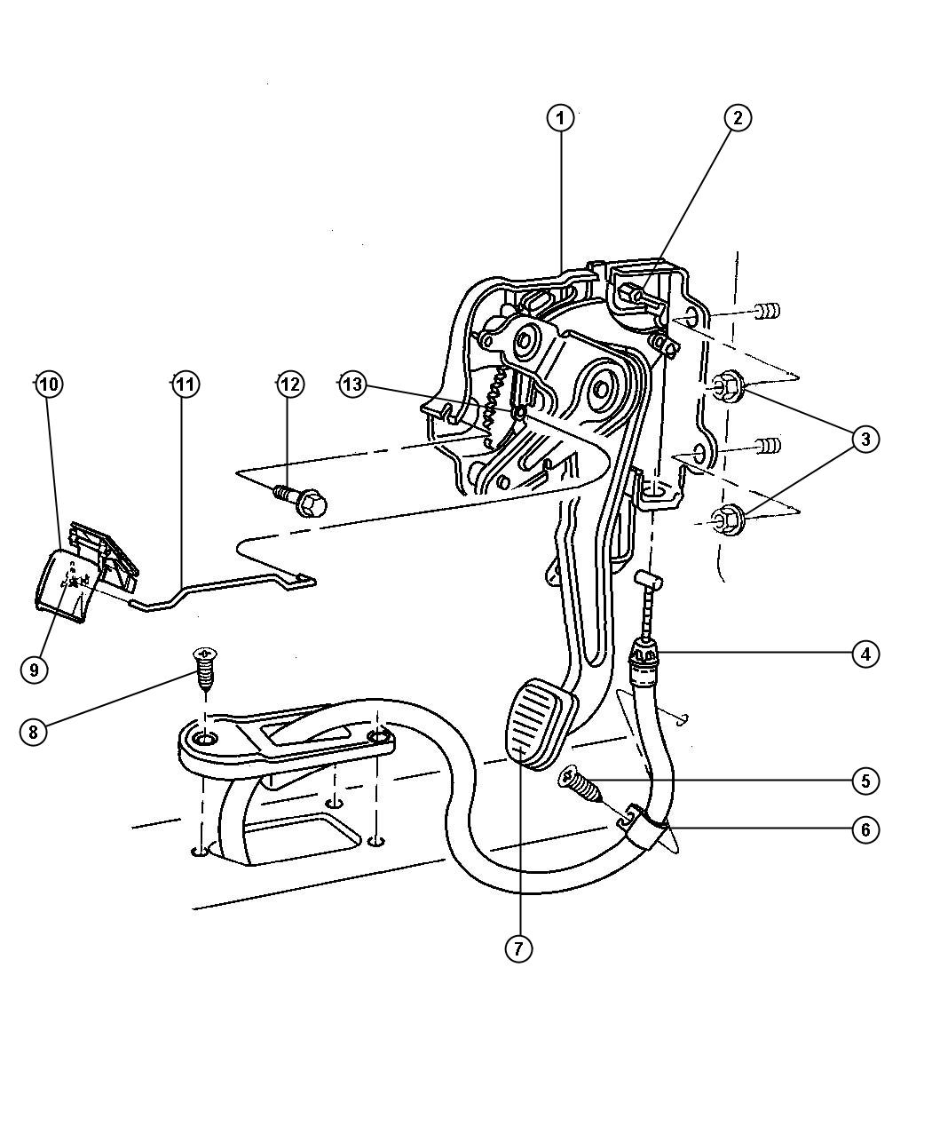 1999 Dodge Ram 1500 Cable. Parking brake. Front. Steering