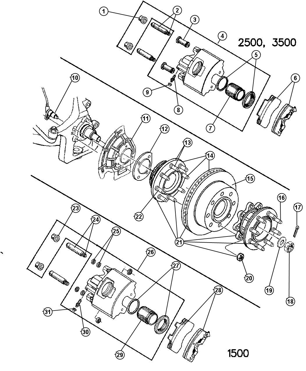 Dodge Ram Used For Hub And Rotor Brake Right