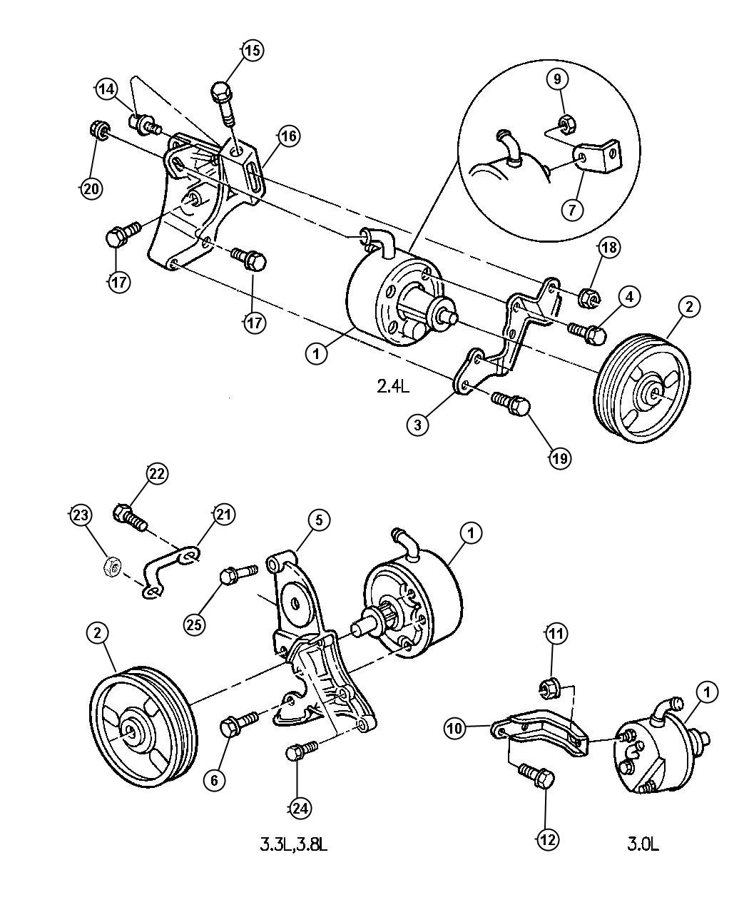 1997 Chrysler Voyager Pulley. Power steering pump. Pulley