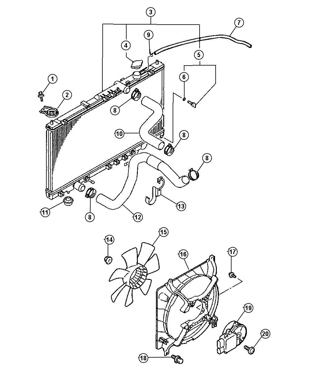 2001 Chrysler Sebring Radiator. Engine cooling. Magneti