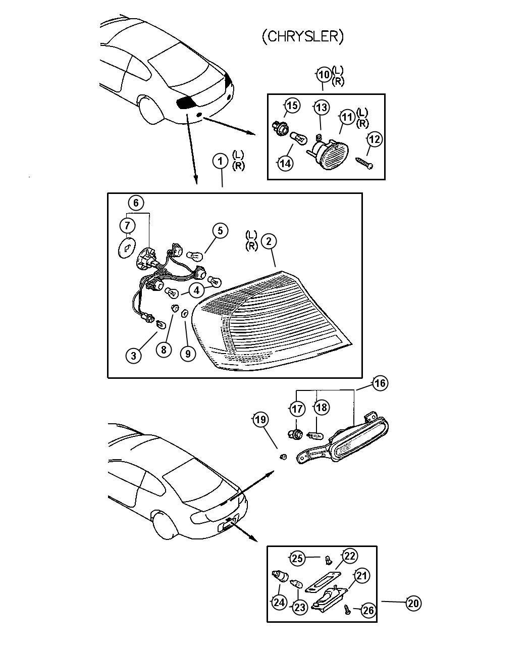 Chrysler Sebring Socket. Back-up lamp. Rear, lamps, fuel