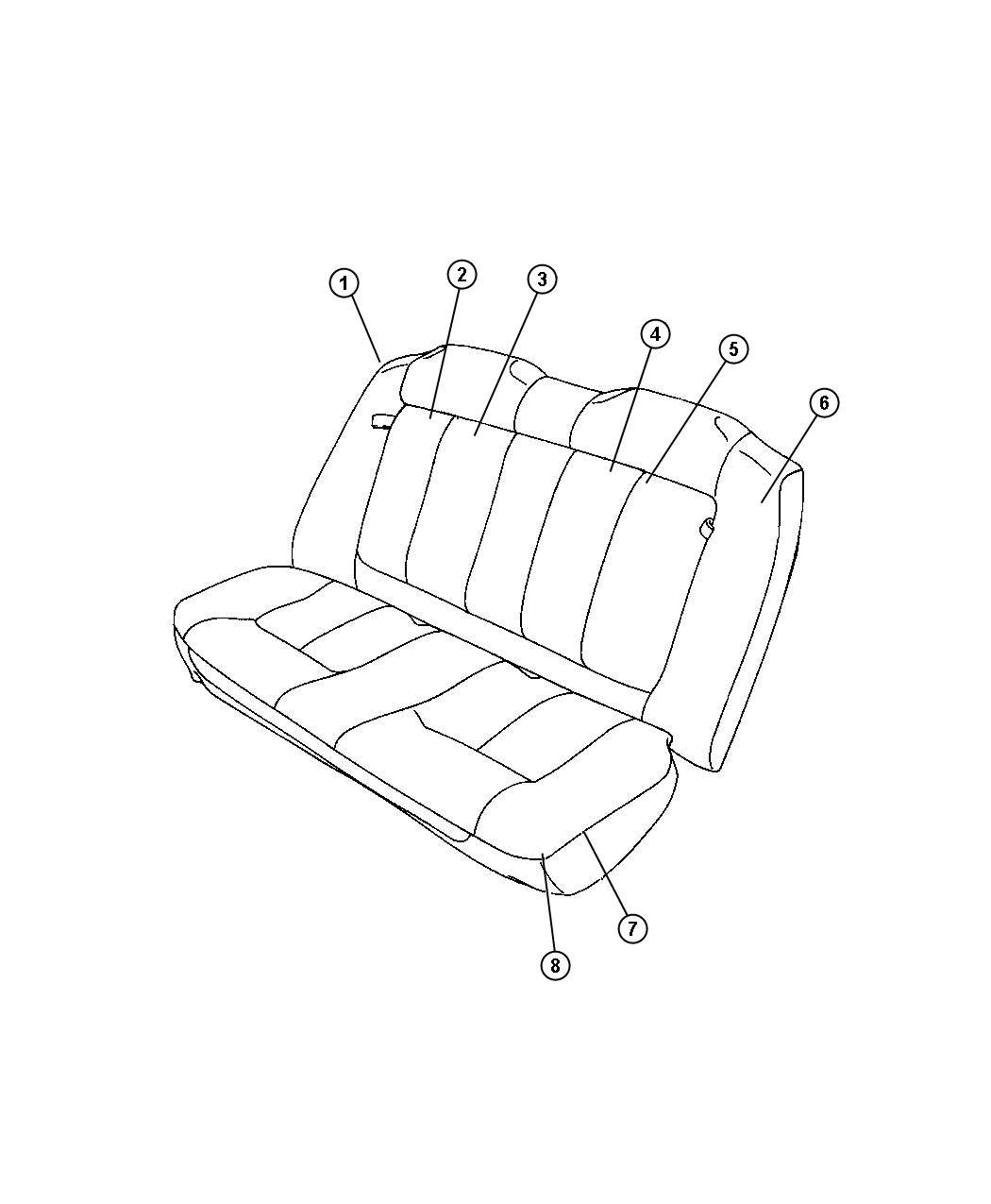 2002 Dodge Dakota Headrest. Rear. [l5]. Trim: [seats