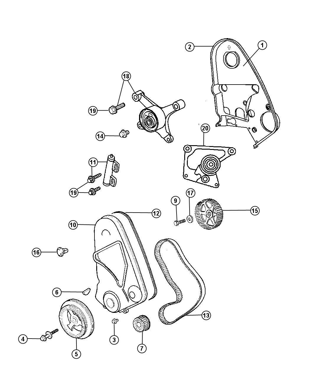 Dodge Neon Bracket Tensioner Emissions Belt Cover