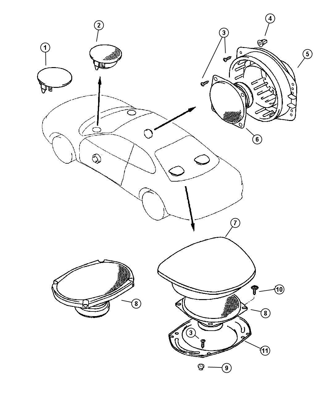 Dodge Avenger Speaker. Front. 12w, 2.5`, 12w, 2.5` black