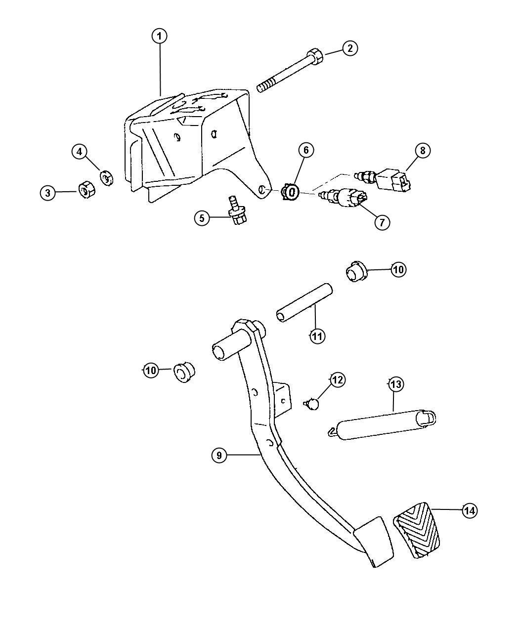Dodge Avenger Pad. Brake pedal, clutch. Left, manual