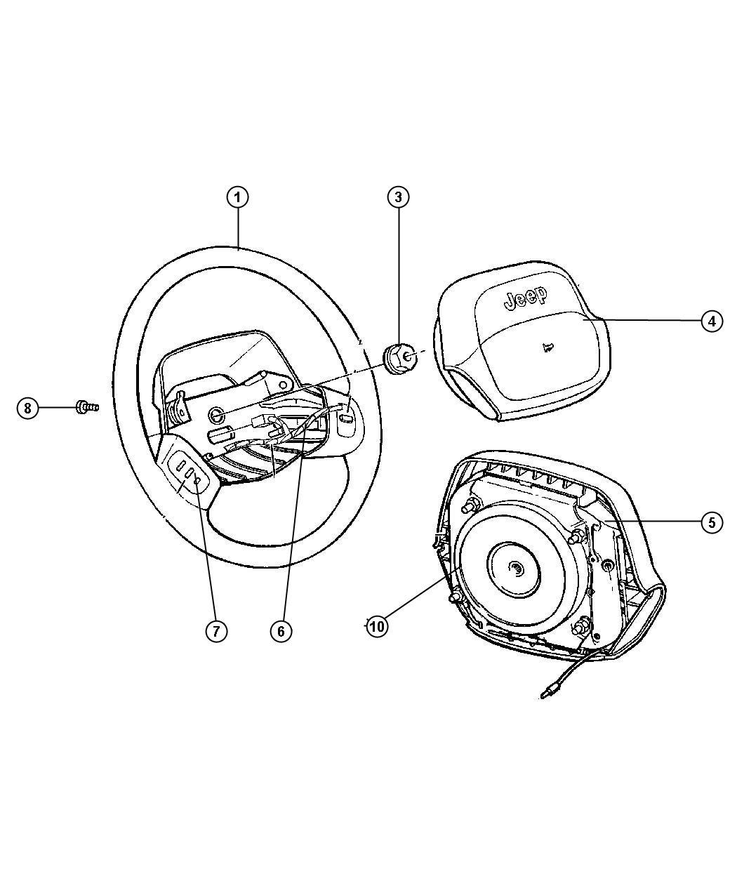 Jeep Wrangler Cover Air Bag Module Trim O0