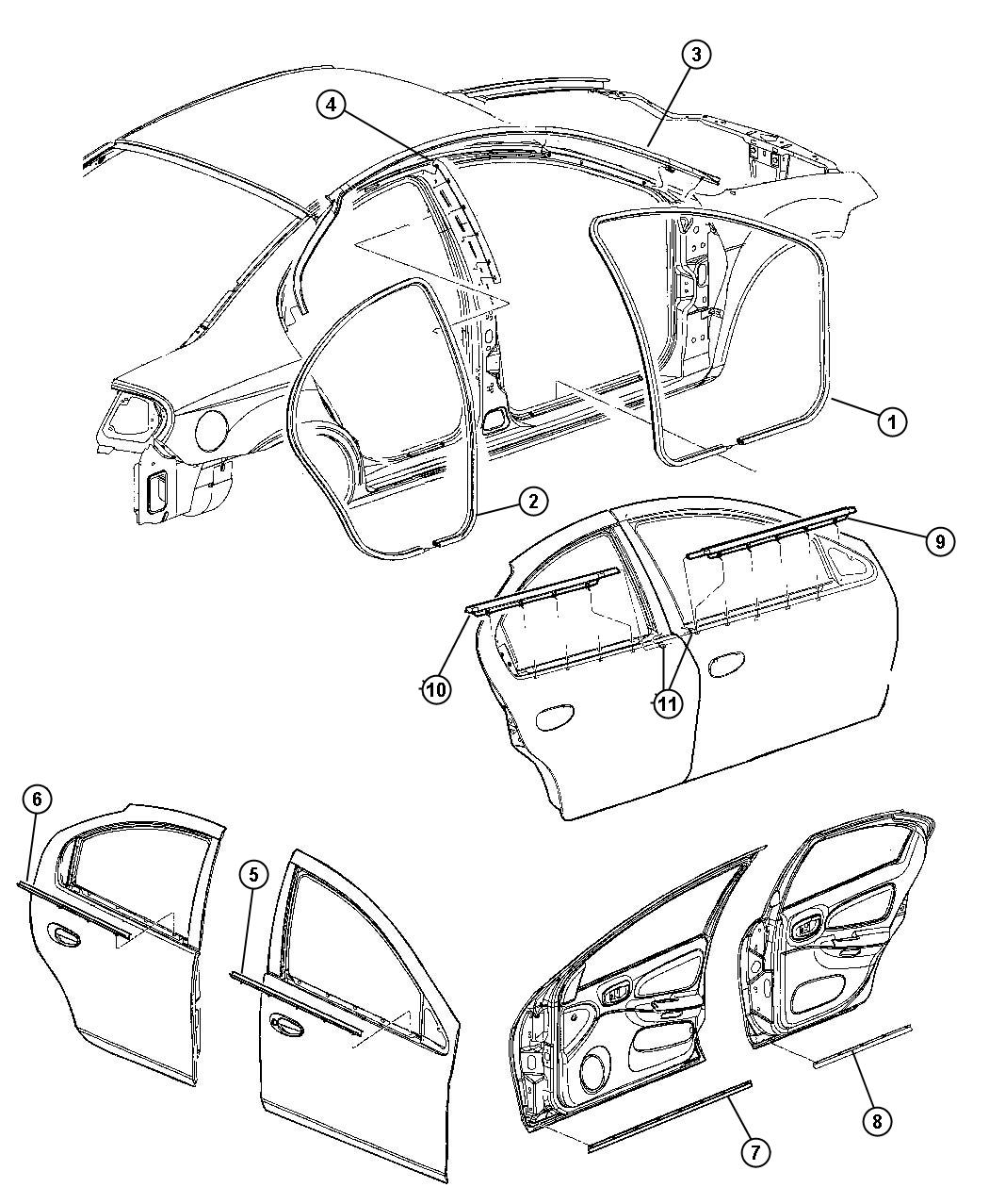 Dodge Neon Weatherstrip. Rear door opening. [dv]. Trim