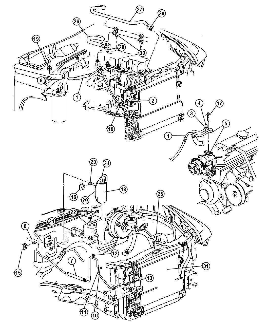 Dodge Dakota Valve, valve core. A/c line, charging