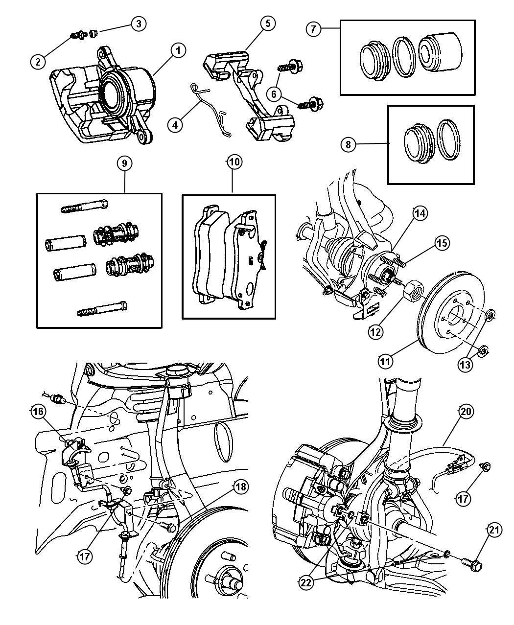 2001 Dodge Stratus Piston kit. Front brake. Wheel, disc