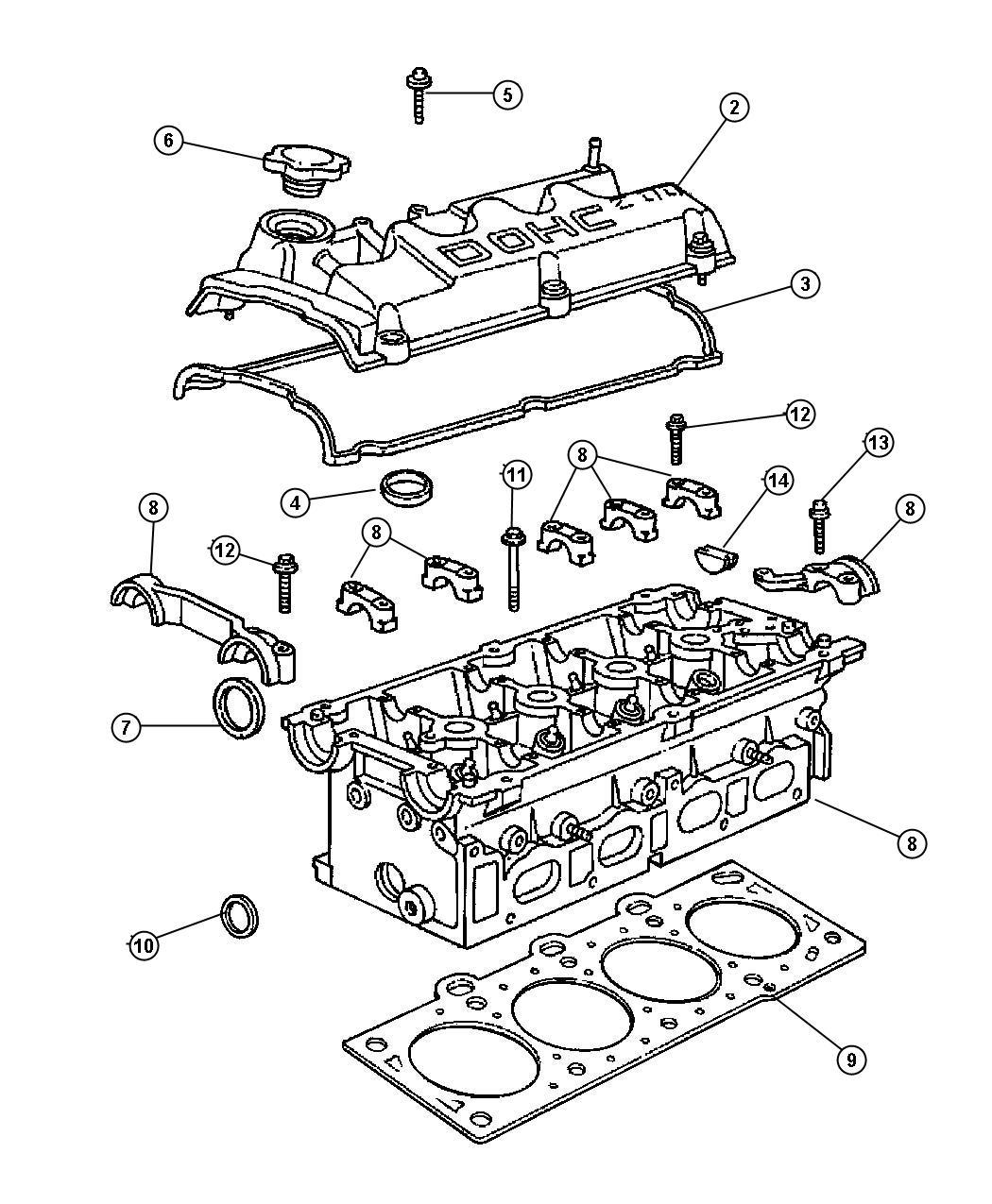 1998 Dodge Stratus Gasket. Cylinder head. Block, oil, hood