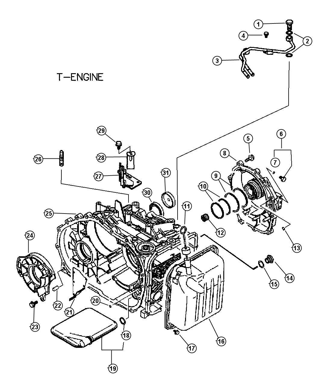 2005 Chrysler Sebring Filter. Valve body. Cylinder, case