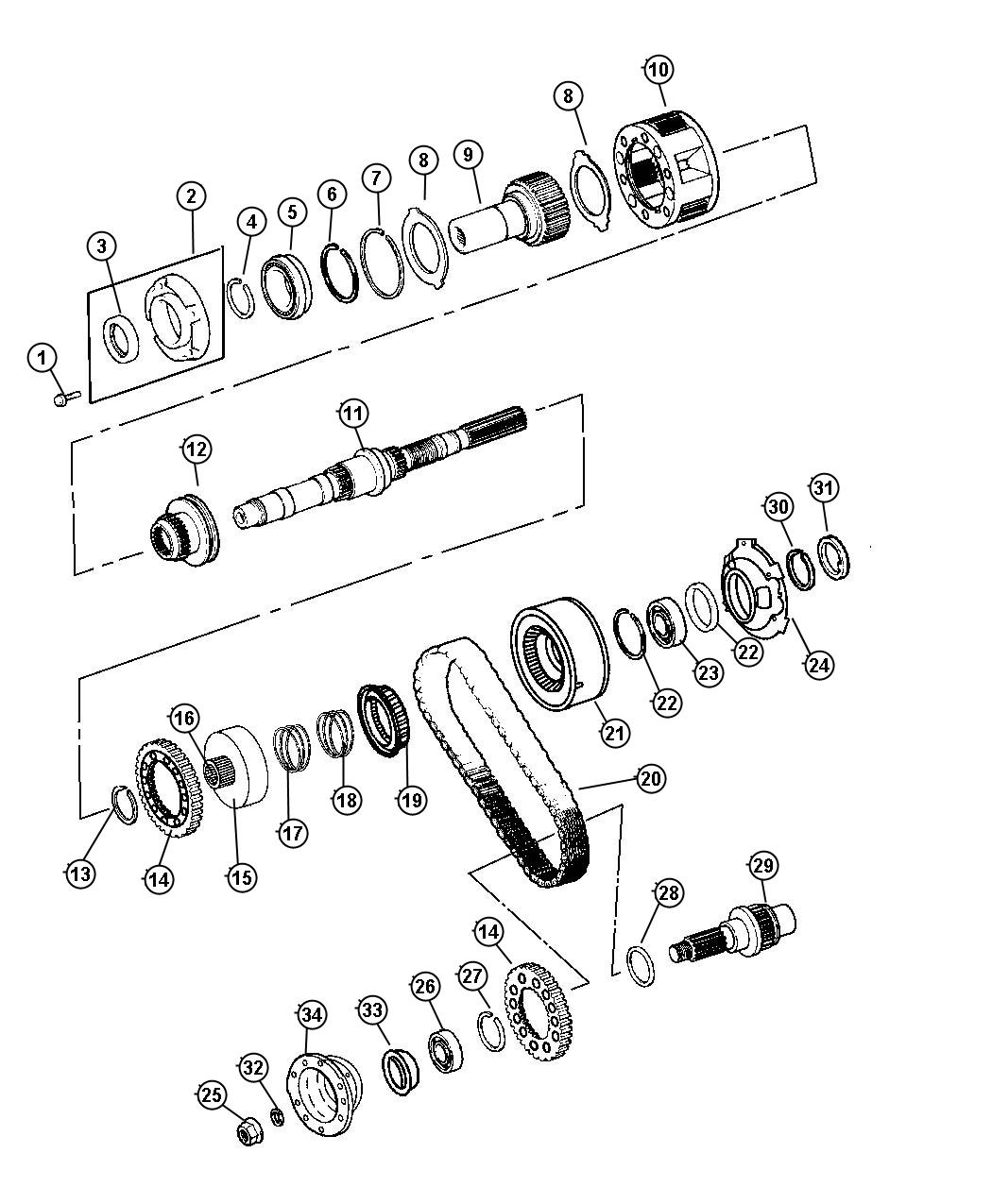 1999 Dodge Ram 3500 Chain. Transfer case. Trac, system