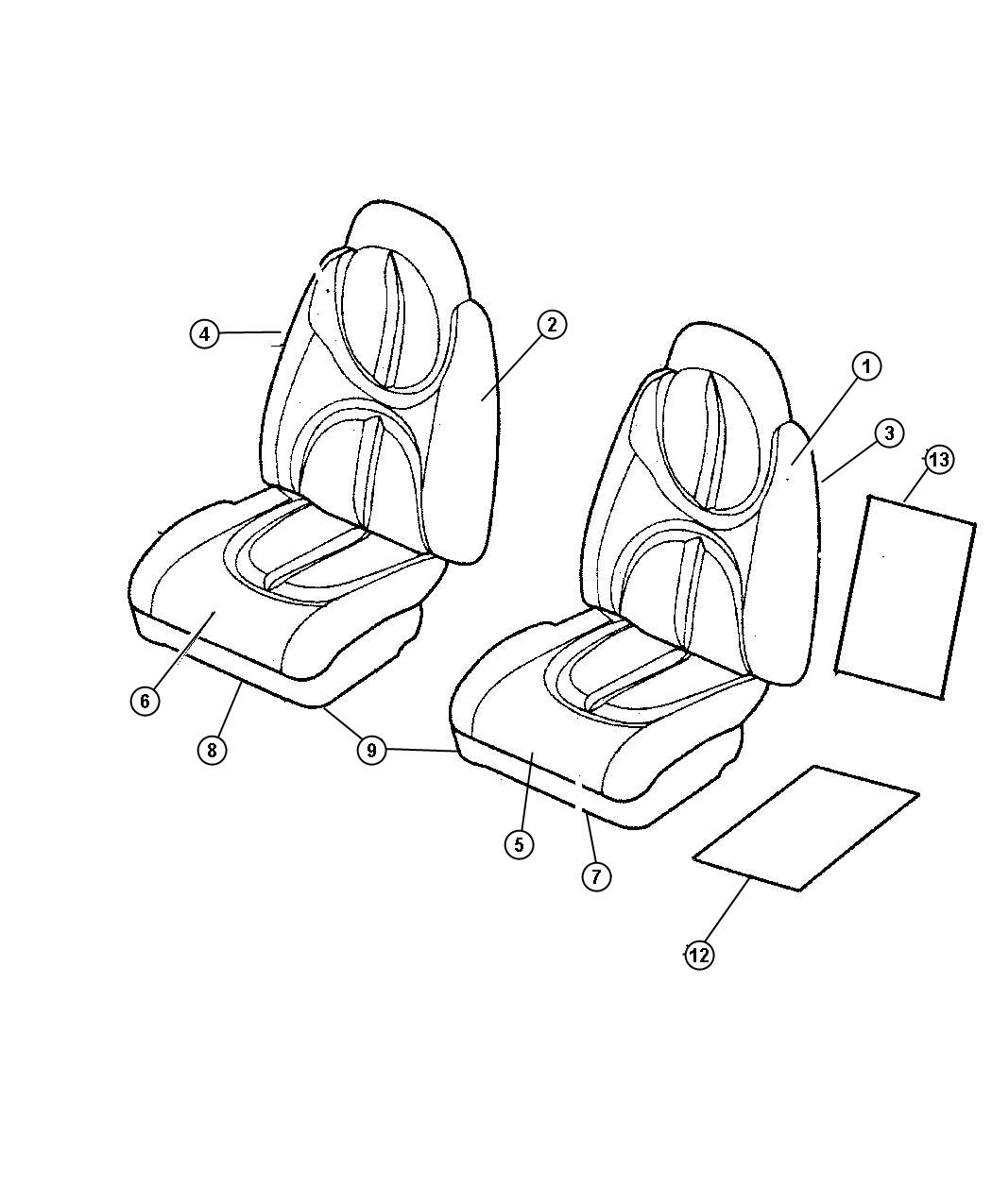 Dodge Durango Cover. Front seat cushion. [t5]. Trim
