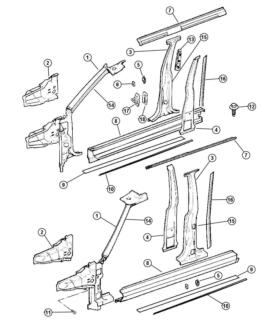 Chrysler Sebring Reinforcement Center Pillar Right Body