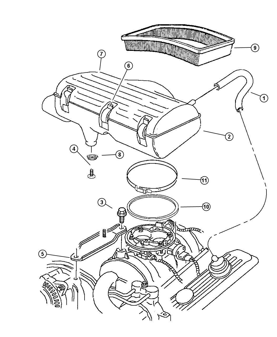 2001 Dodge Ram 1500 Body. Air cleaner. Lecold, nax, nab