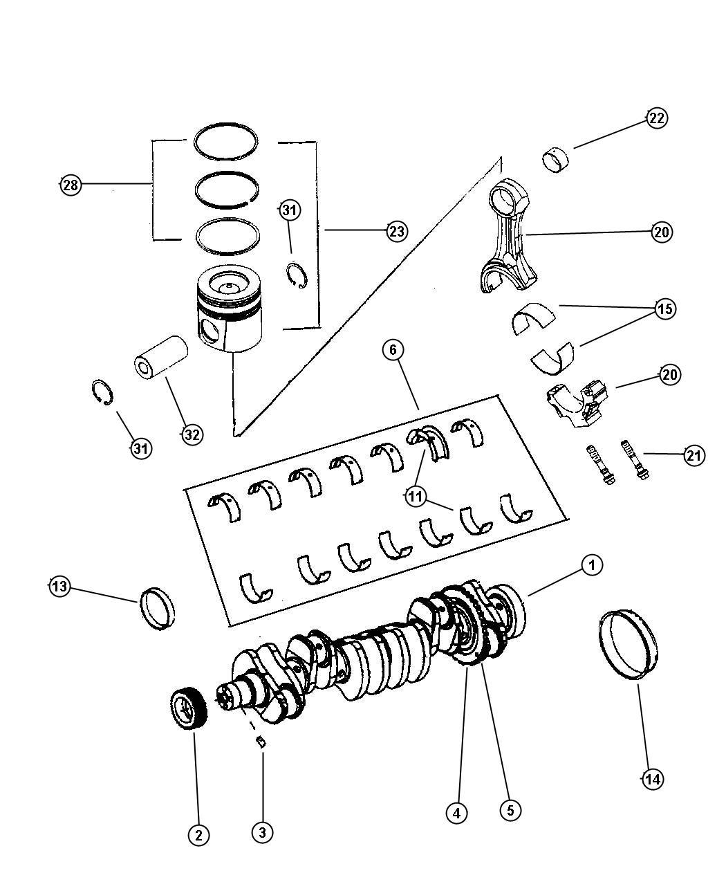 2000 Dodge Ram 2500 Bearing kit. Crankshaft. 1.00mm