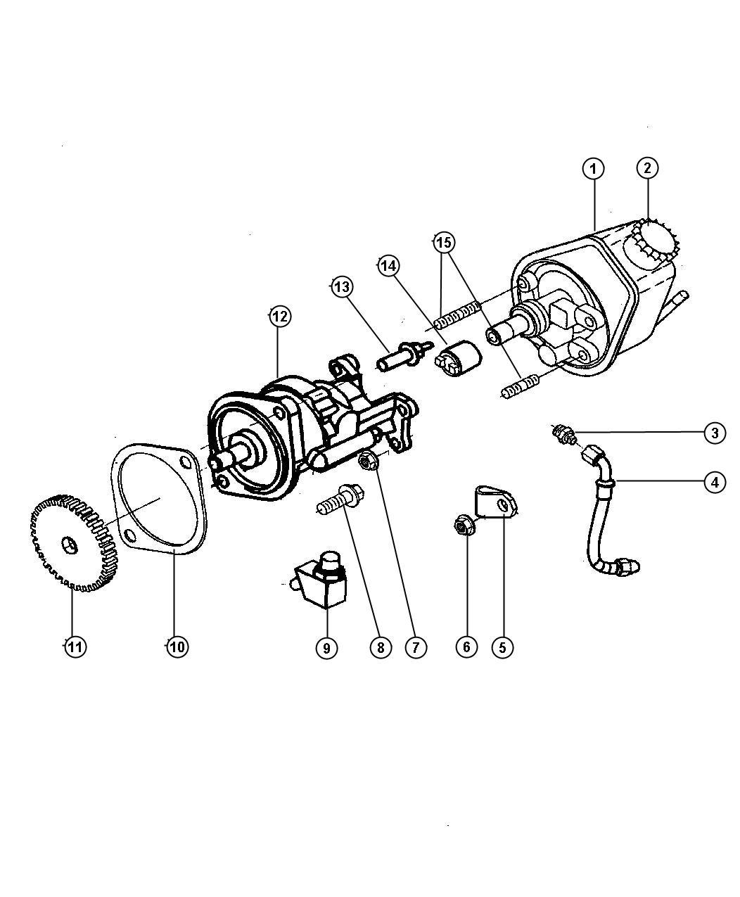 2001 Dodge Ram 3500 Cap. Power steering pump. [emissions