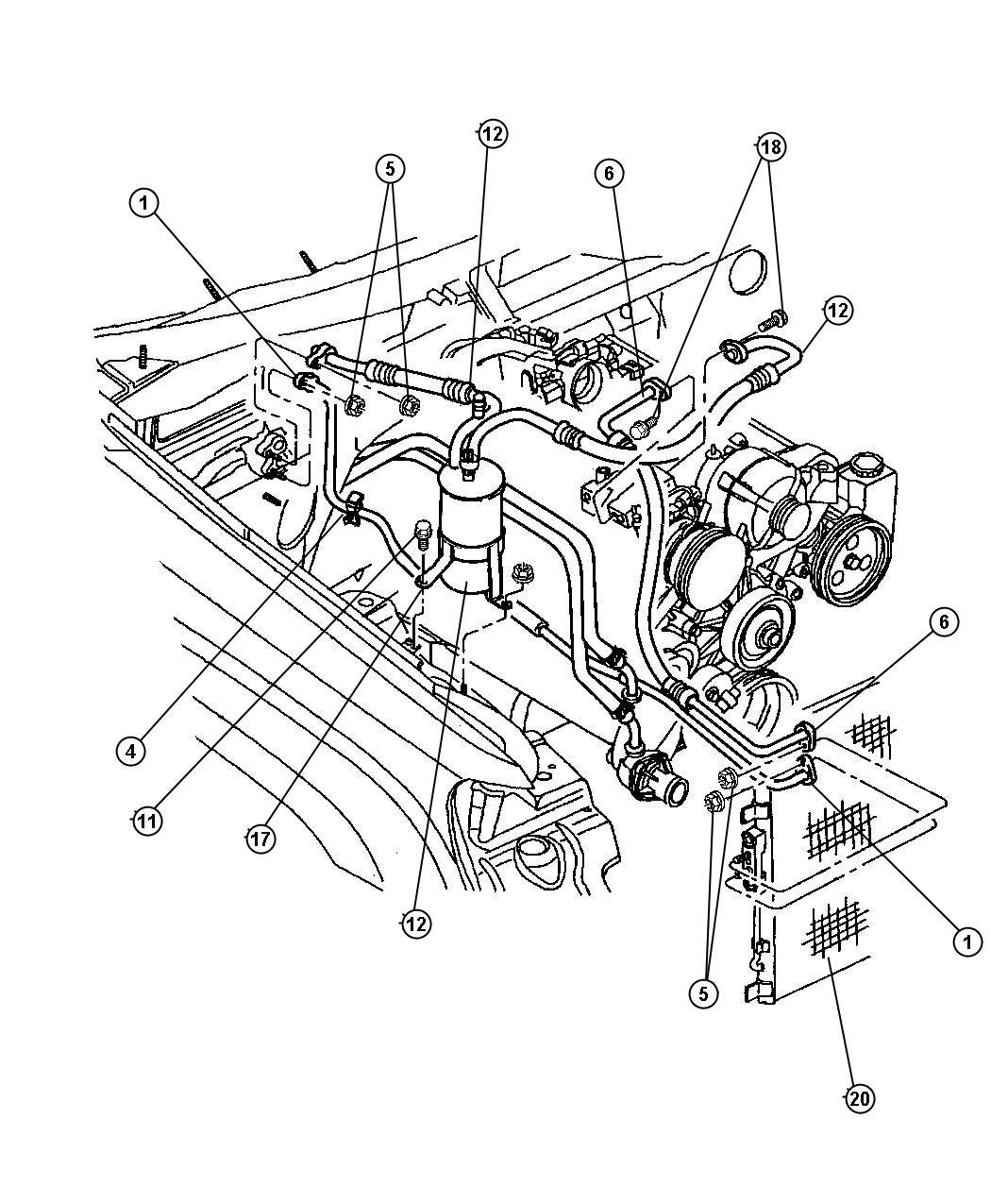 2000 Dodge Durango Line. A/c liquid. Air, lines, condenser