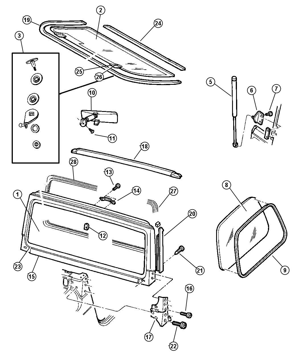 Jeep Wrangler Seal Header Opening Windshield Glass
