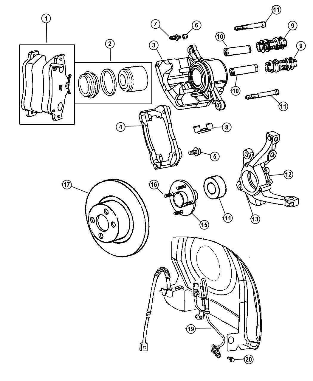 2001 Chrysler PT Cruiser Caliper. Disc brake. Right
