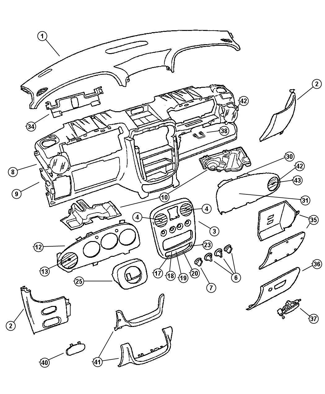 Chrysler Pt Cruiser Cover Instrument Panel Trim O0 Color Fl