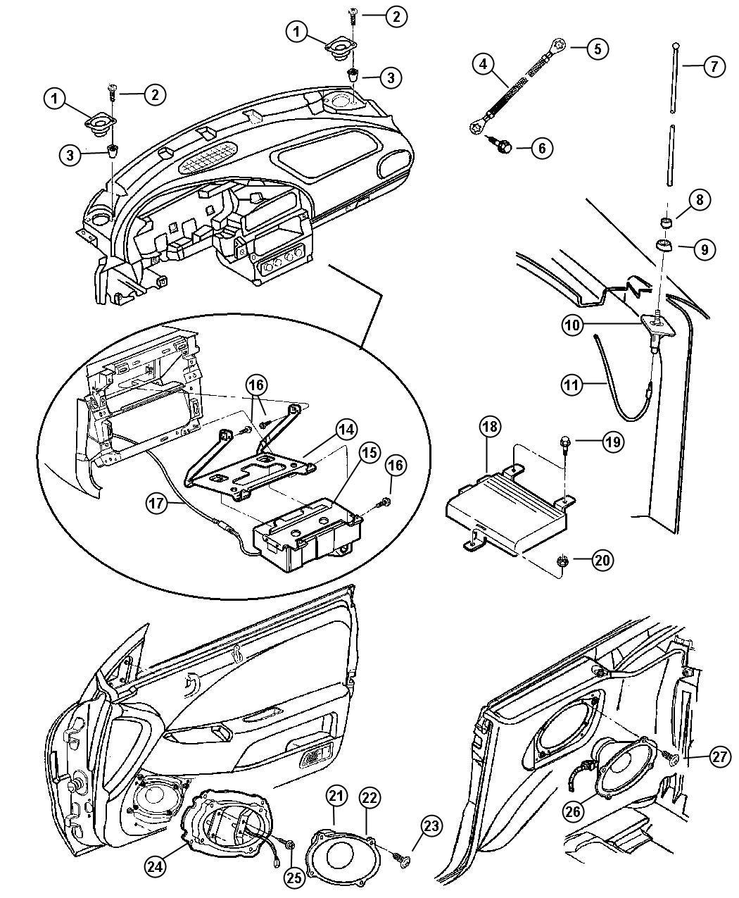 1998 Chrysler Sebring Amplifier. Radio. Speakers, infinity