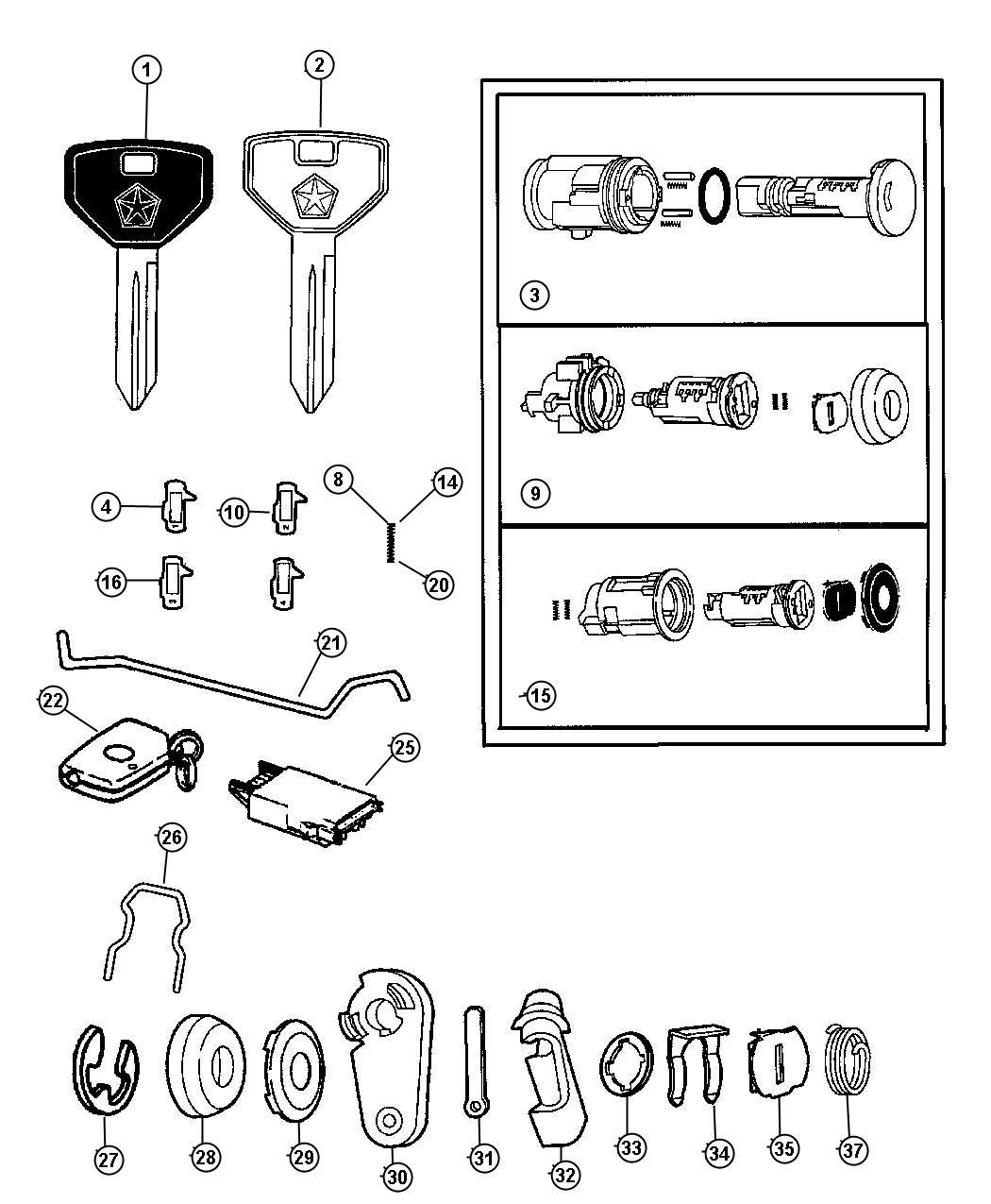 Dodge Neon Transmitter. Keyless entry. Lock, cylinders