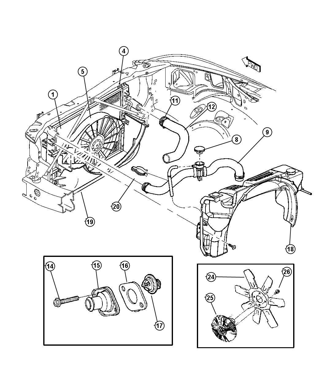 2007 Dodge Caliber Hose. Radiator inlet. Related