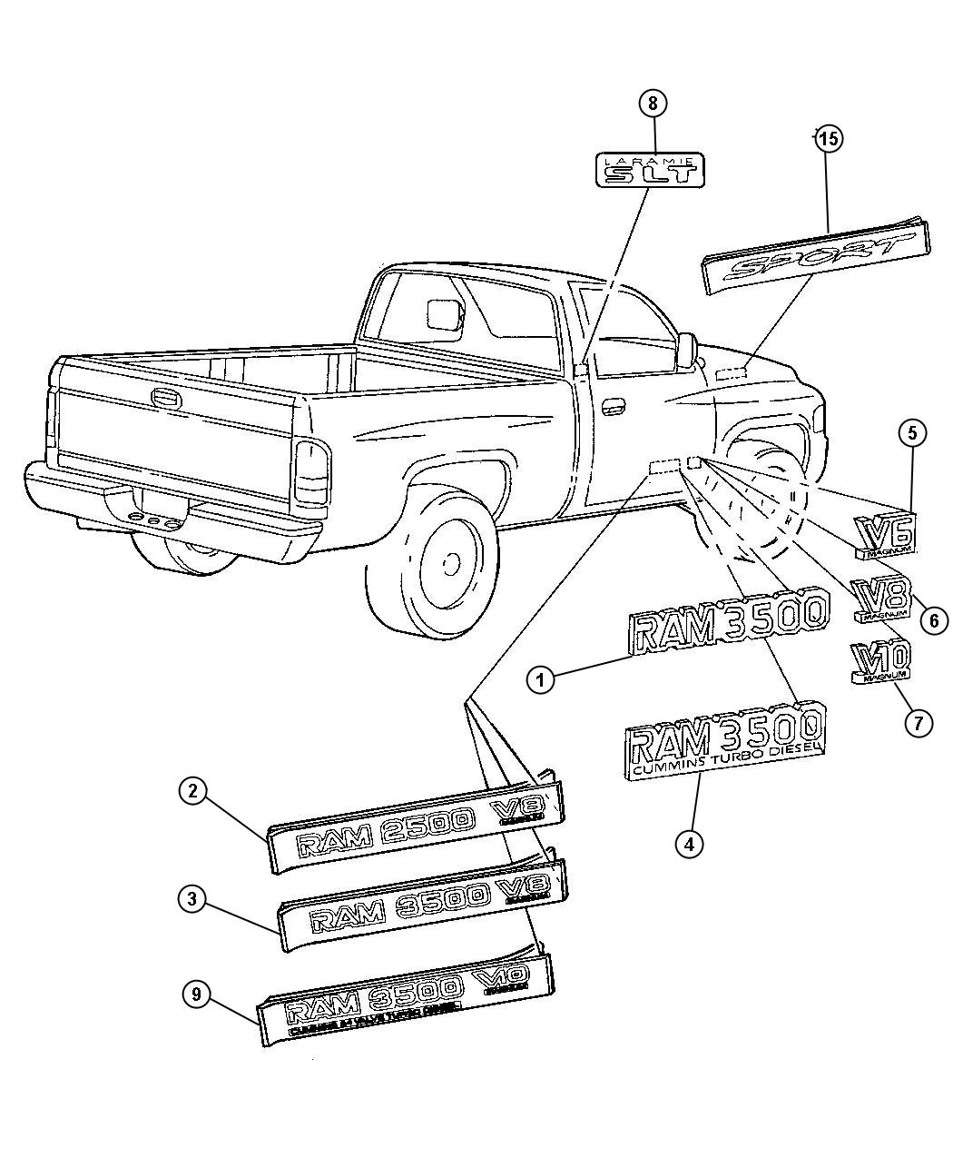 2000 Dodge Ram 2500 Nameplate. Front fender. Ram 3500