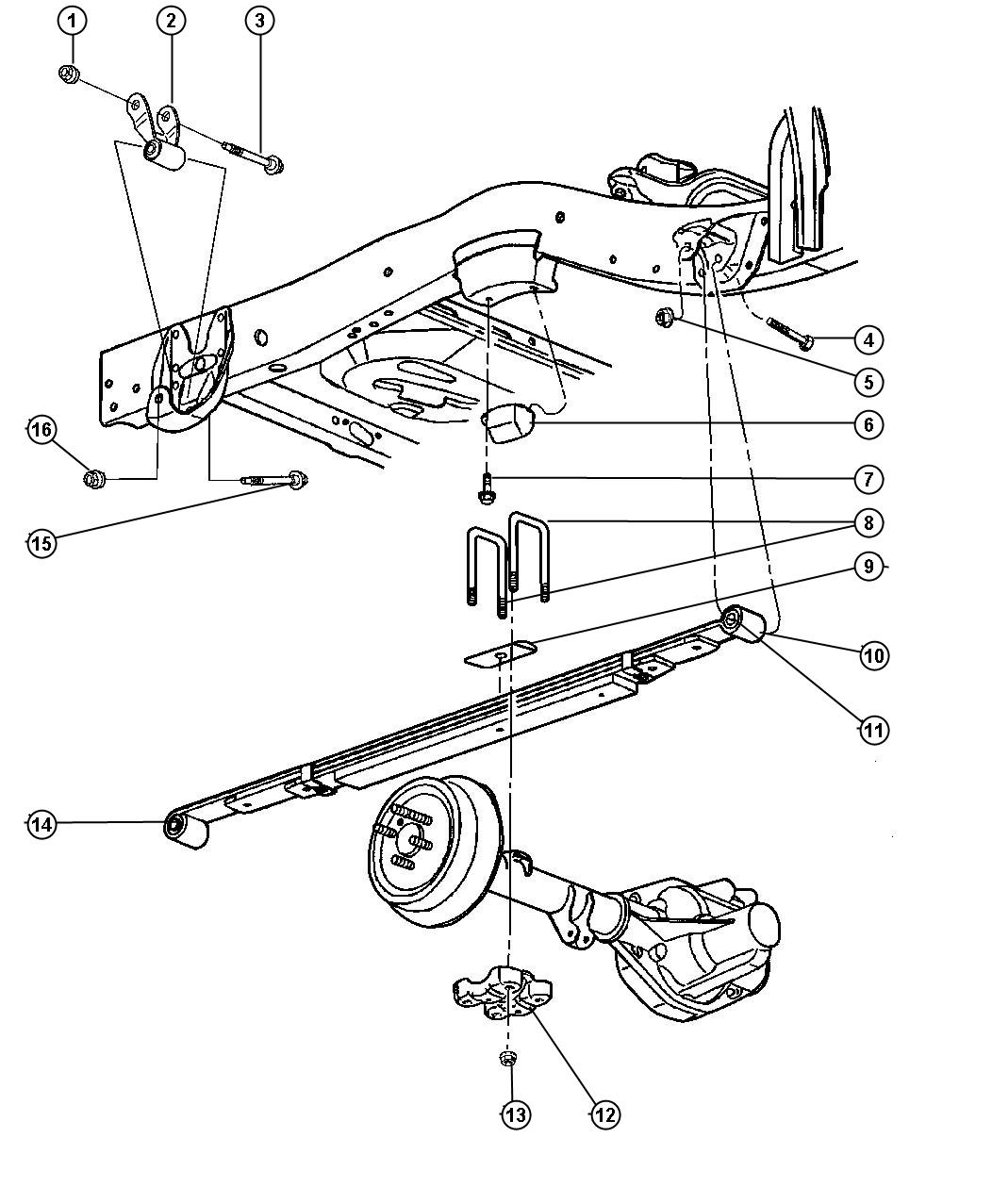 1998 Dodge Dakota Clip, u-bolt. Spring. Rear, drb