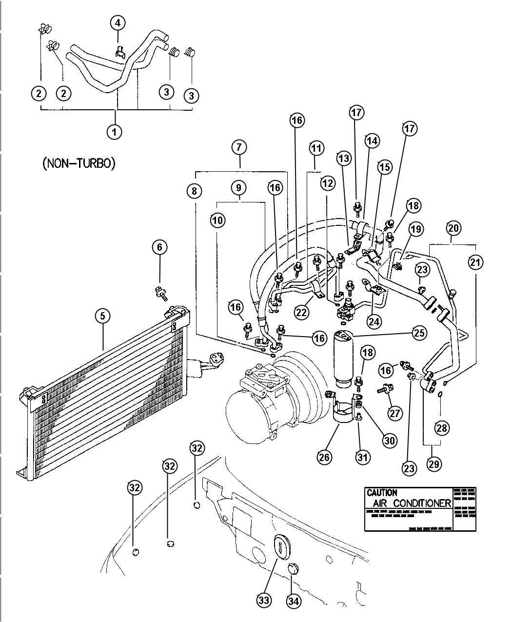 1998 Dodge Avenger Pipe. Condenser outlet. Engine, hoses